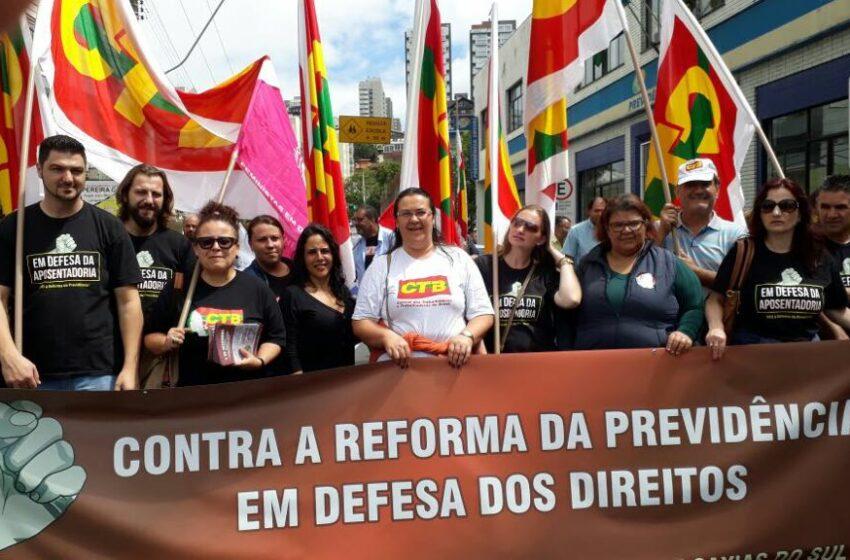 Sindicomerciários Caxias participa de ato simbólico contraa Reforma da Previdência