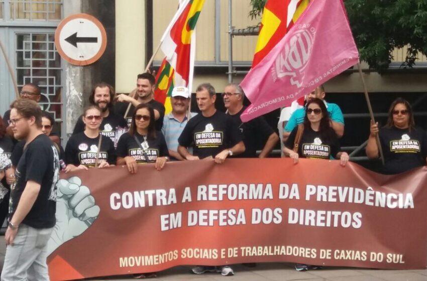 Em defesa da Previdência, Sindicato participa de ato na Praça Dante