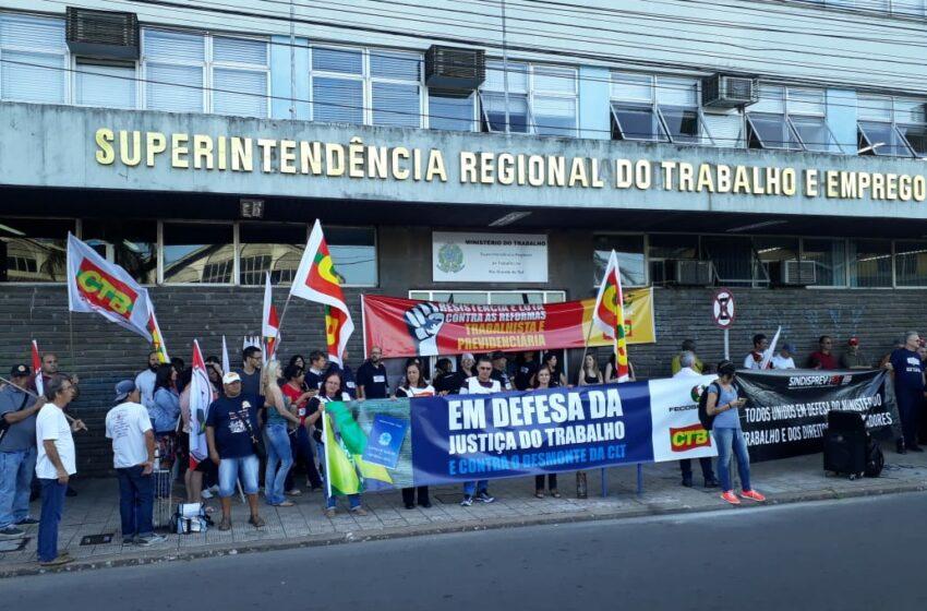 Centrais sindicais promovem ato unificado em defesa do Ministério do Trabalho