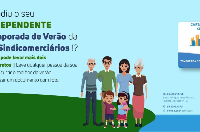 Sindicomerciários cria cartão de dependentes para familiares para Temporada de Verão