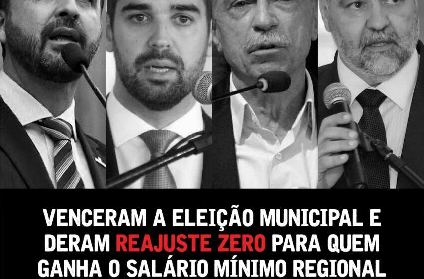 Deputados aprovam reajuste zero para o Mínimo Regional