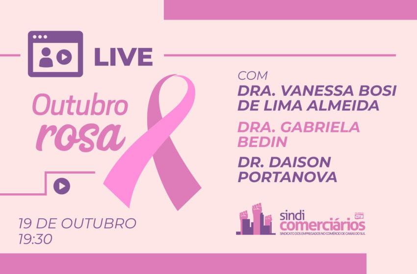 OUTUBRO ROSA: Sindicomerciários Caxias realiza live sobre prevenção ao câncer de mama e saúde da mulher